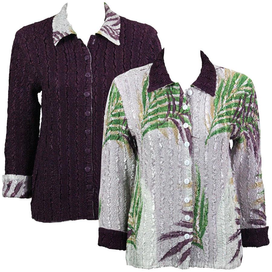 Wholesale Magic Crush - Reversible Jackets Palm Leaf Green-Purple reverses to Solid Plum - S-M