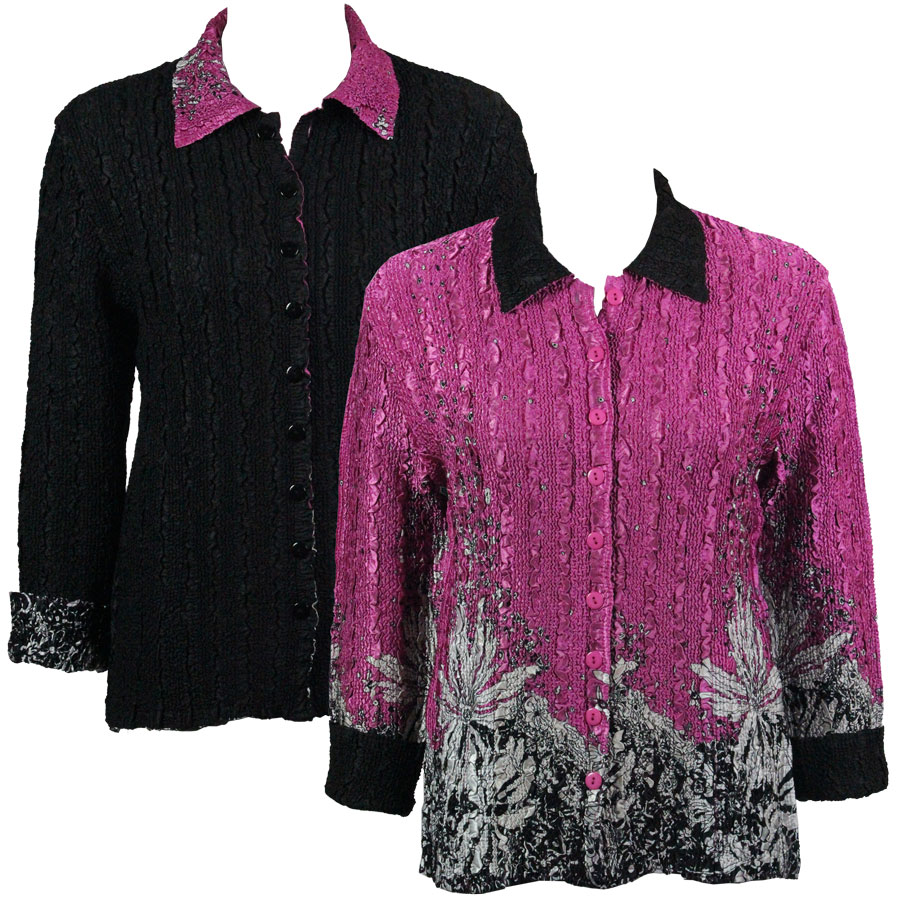 Wholesale Magic Crush - Reversible Jackets Flowers and Dots 2 Pink-White reverses to Solid Black - L-XL