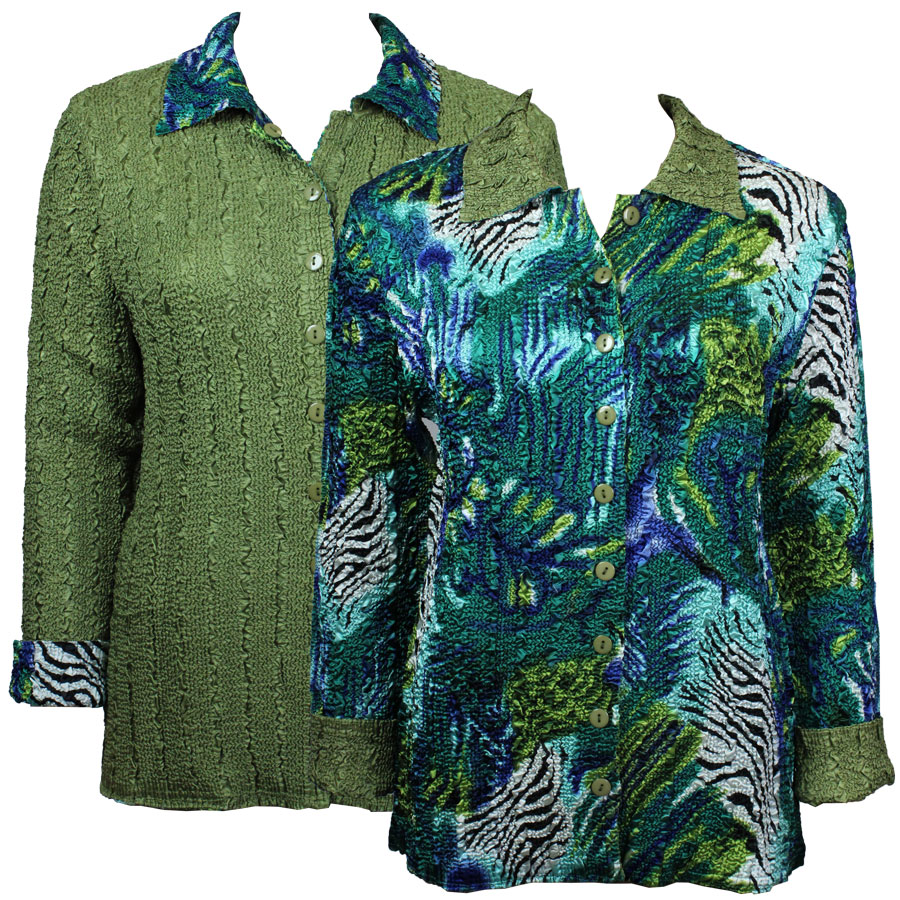 Wholesale Magic Crush - Reversible Jackets Abstract Zebra Blue-Green reverses to Solid Olive - S-M