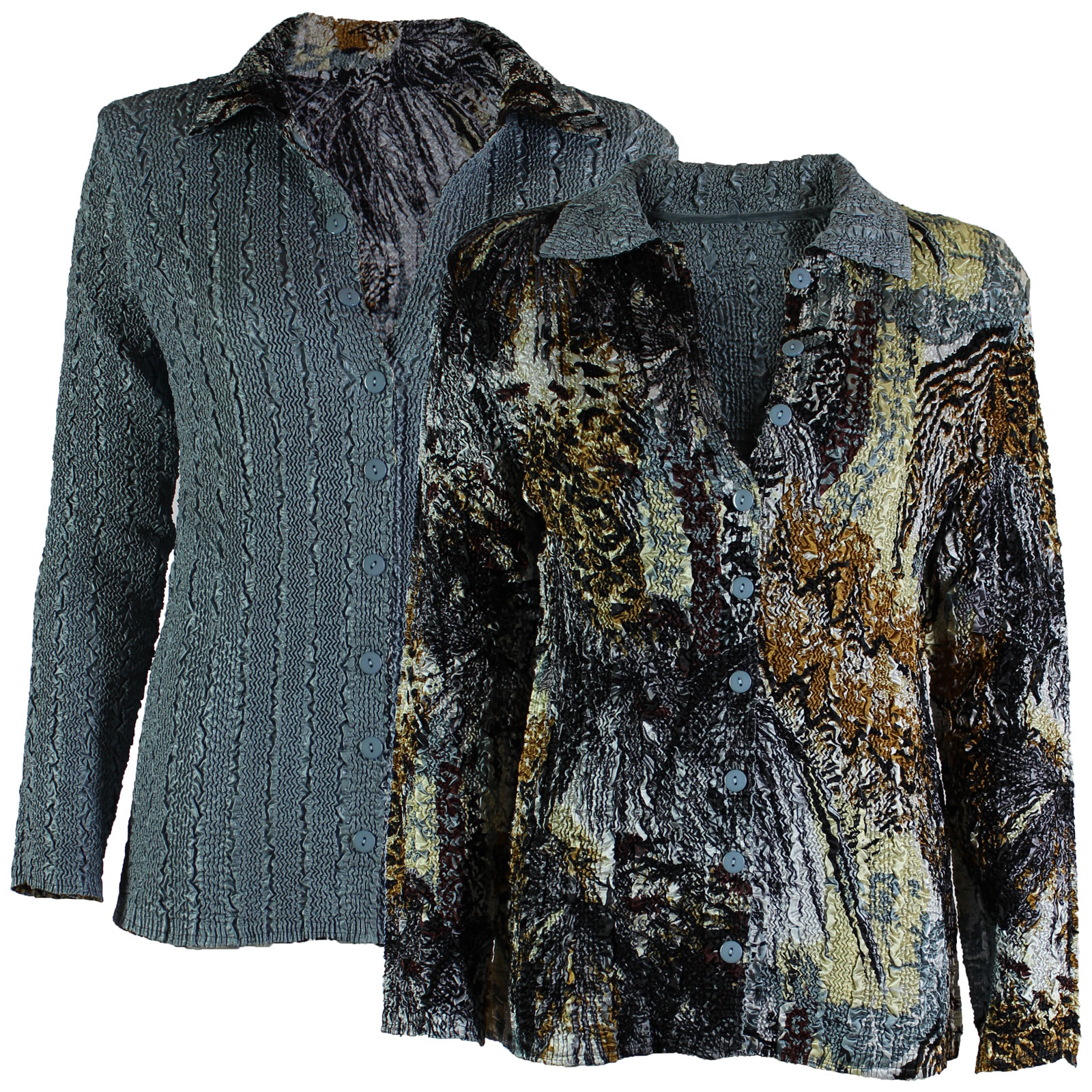 Wholesale Magic Crush - Reversible Jackets Abstract Black-Gold reverses to Solid Silver #1032 - L-XL