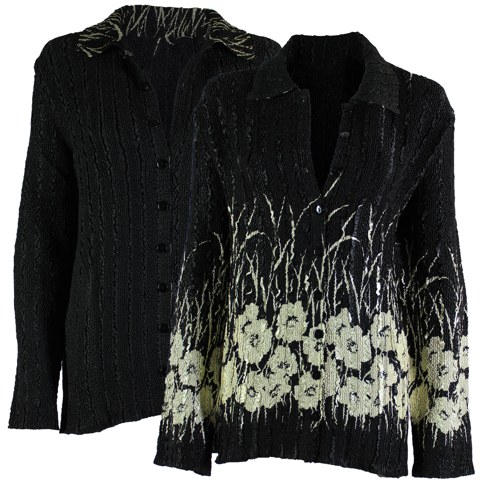 Wholesale Magic Crush - Reversible Jackets Ivory Poppies on Black reverses to Solid Black - L-XL