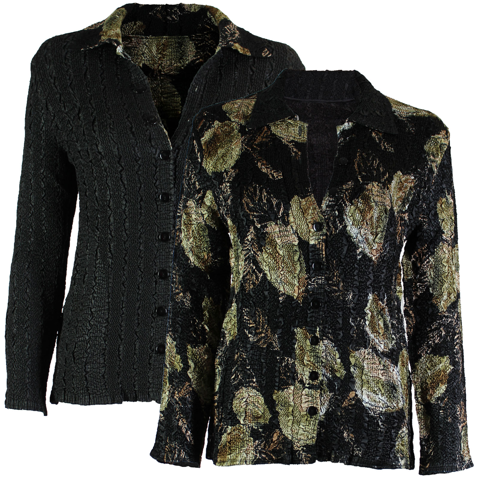 Wholesale Magic Crush - Reversible Jackets Black with Gold Leaves reverses to Solid Black #1048 - 1X-2X
