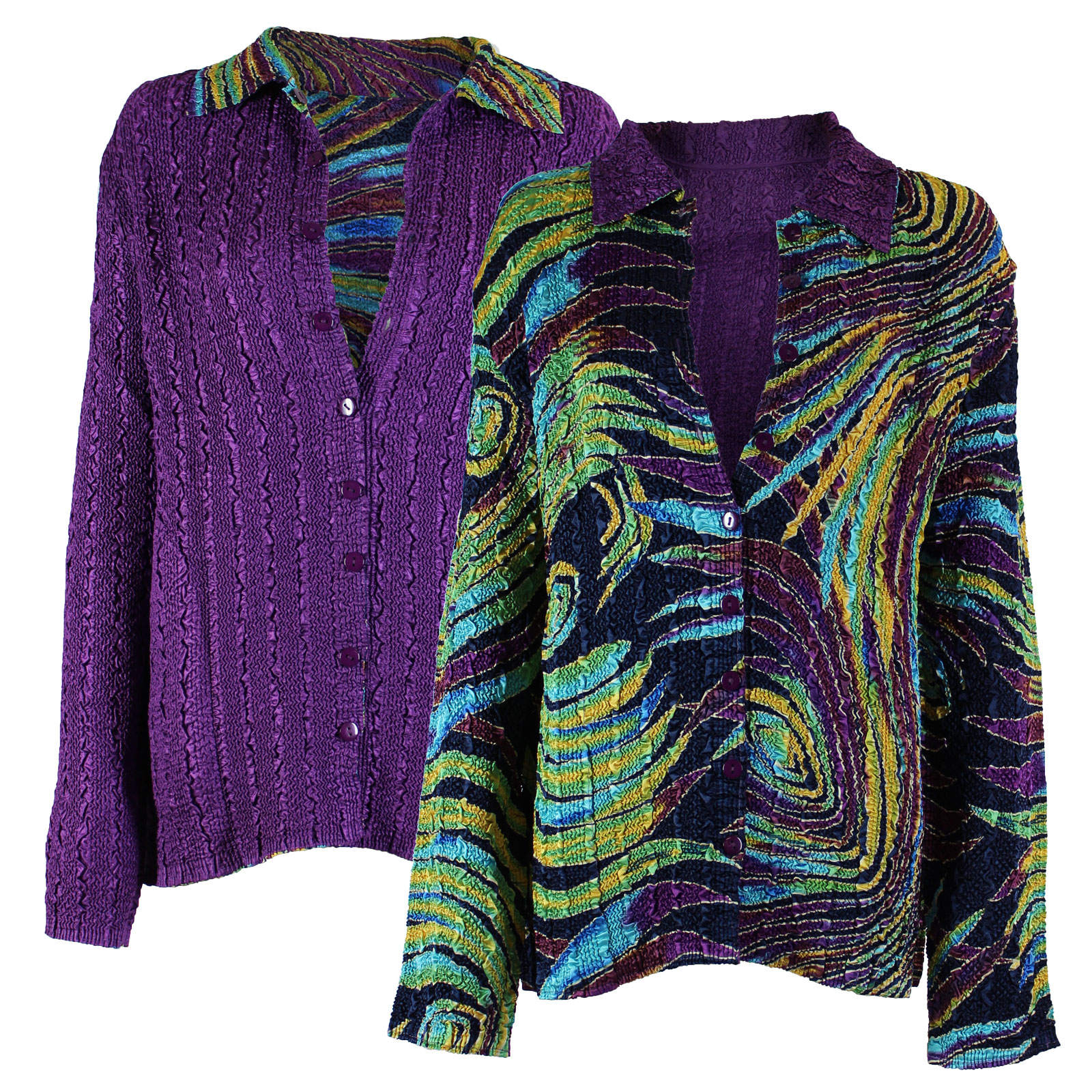 Wholesale Magic Crush - Reversible Jackets Psychedelic Swirl reverses to Solid Purple - 1X-2X