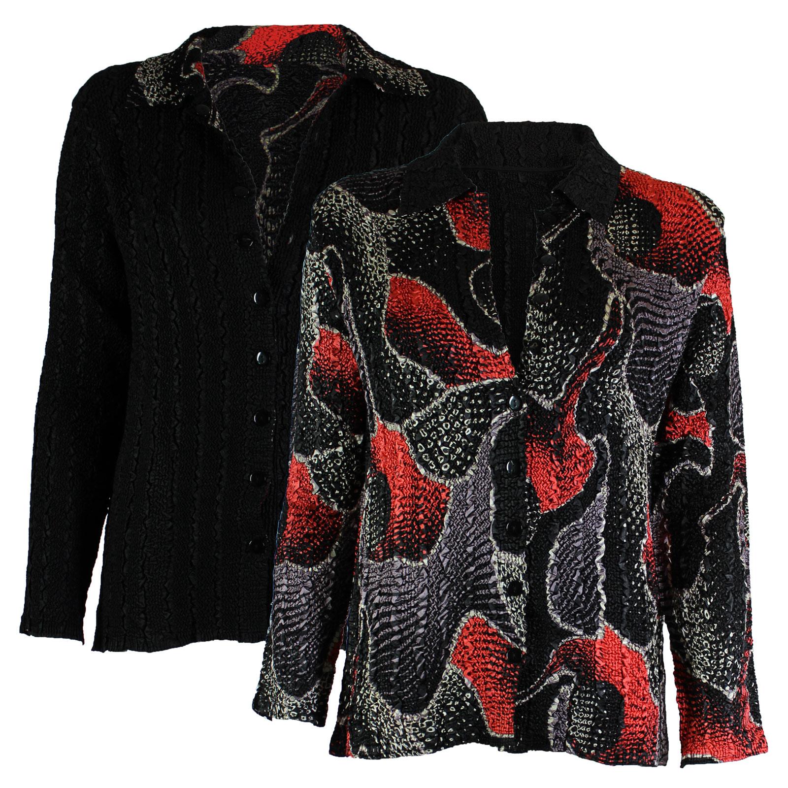 Wholesale Magic Crush - Reversible Jackets #14009 Black, Red and Grey Print - 1X-2X