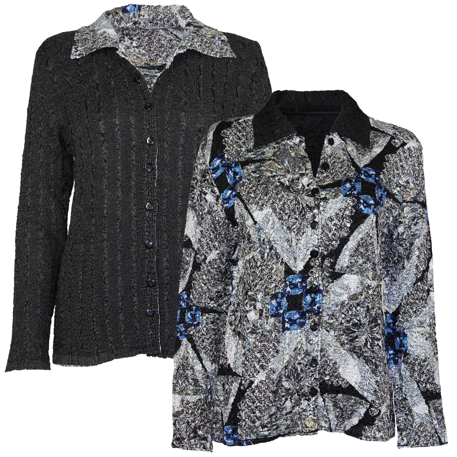 Wholesale Magic Crush - Reversible Jackets #14012 Black, Grey and Blue Print - 1X-2X