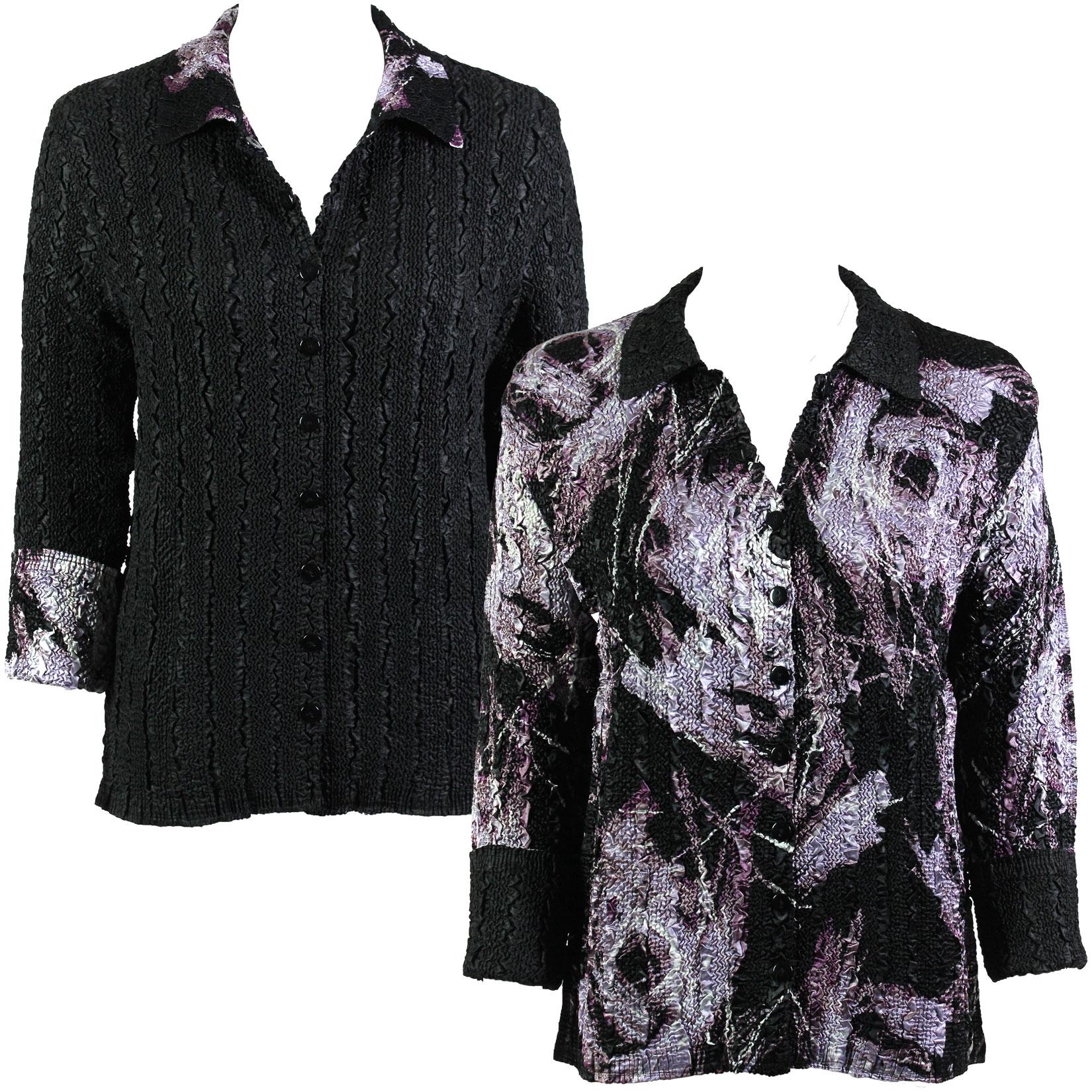 Wholesale Magic Crush - Reversible Jackets Brushstrokes Black-Purple reverses to Solid Black #9065 - 1X-2X