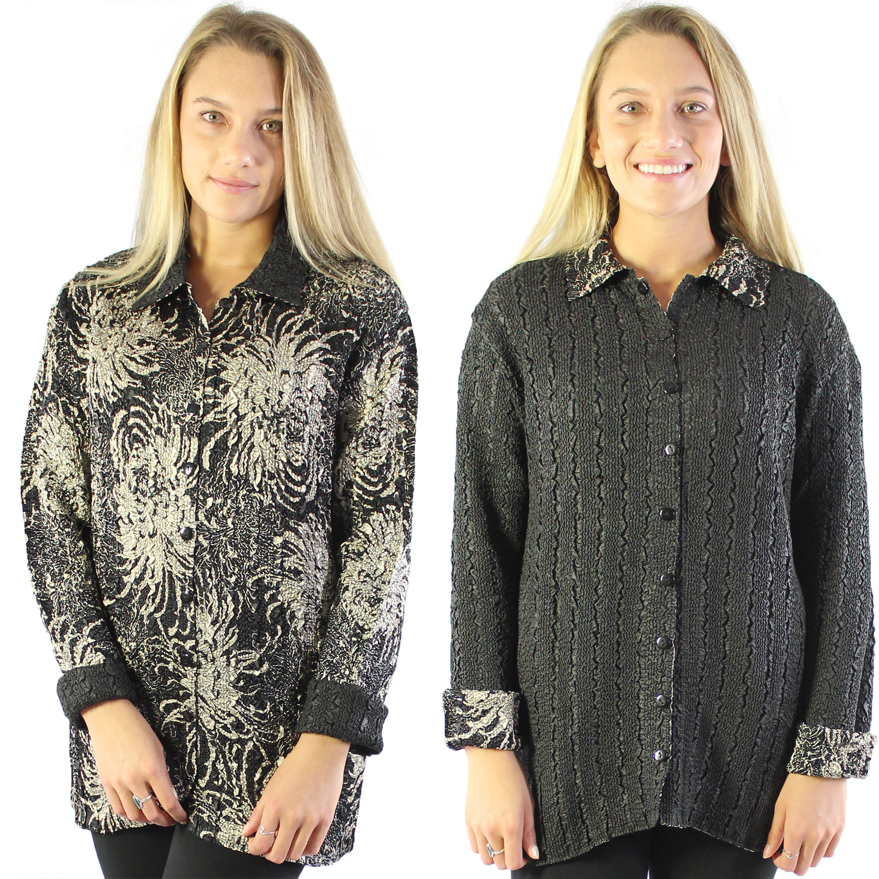 Magic Crush - Reversible Jackets - Abstract Flowers Black-Tan reverses to Solid Black