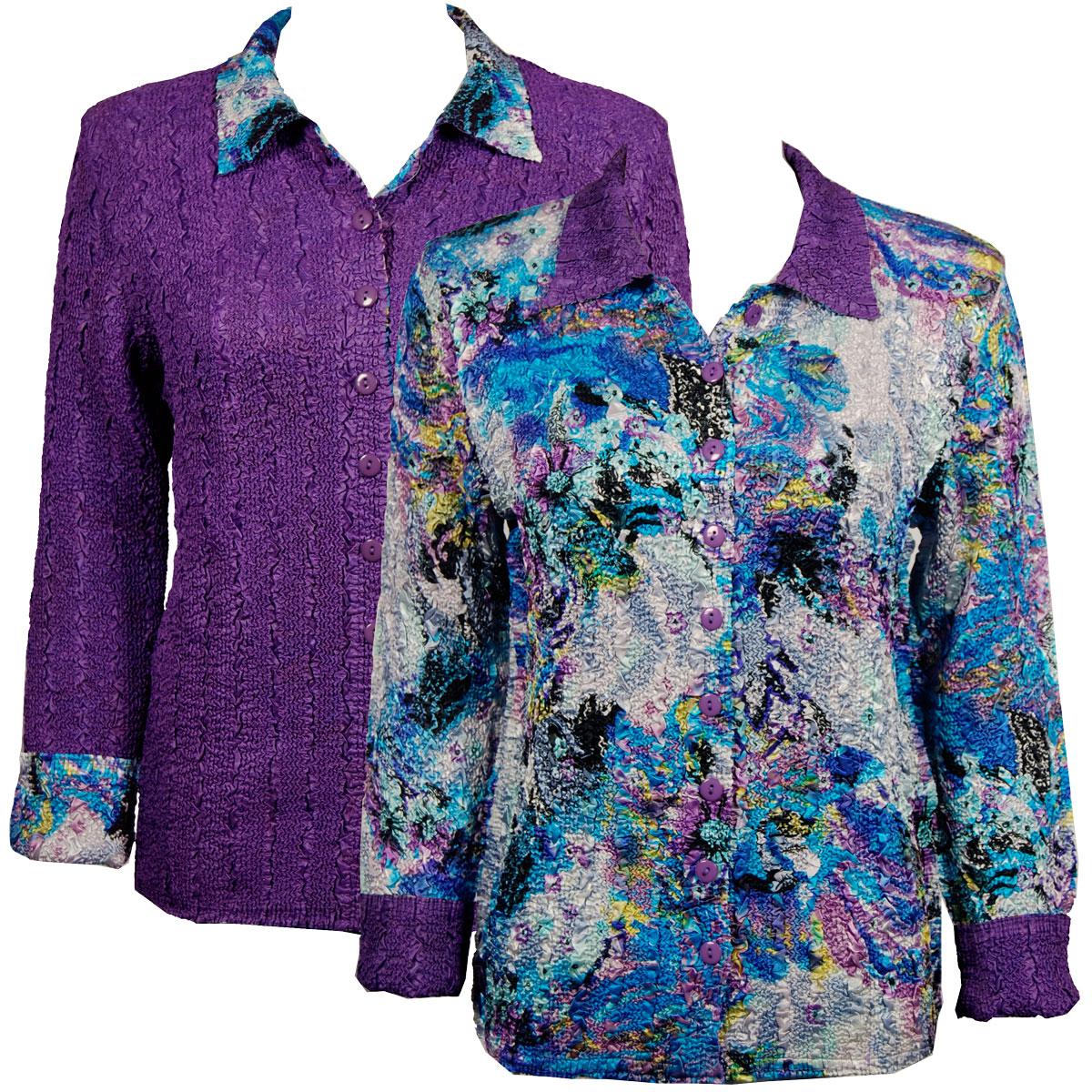 Wholesale Magic Crush - Reversible Jackets Paint Splatter Aqua-Purple reverses to Solid Dark Purple -      S-M
