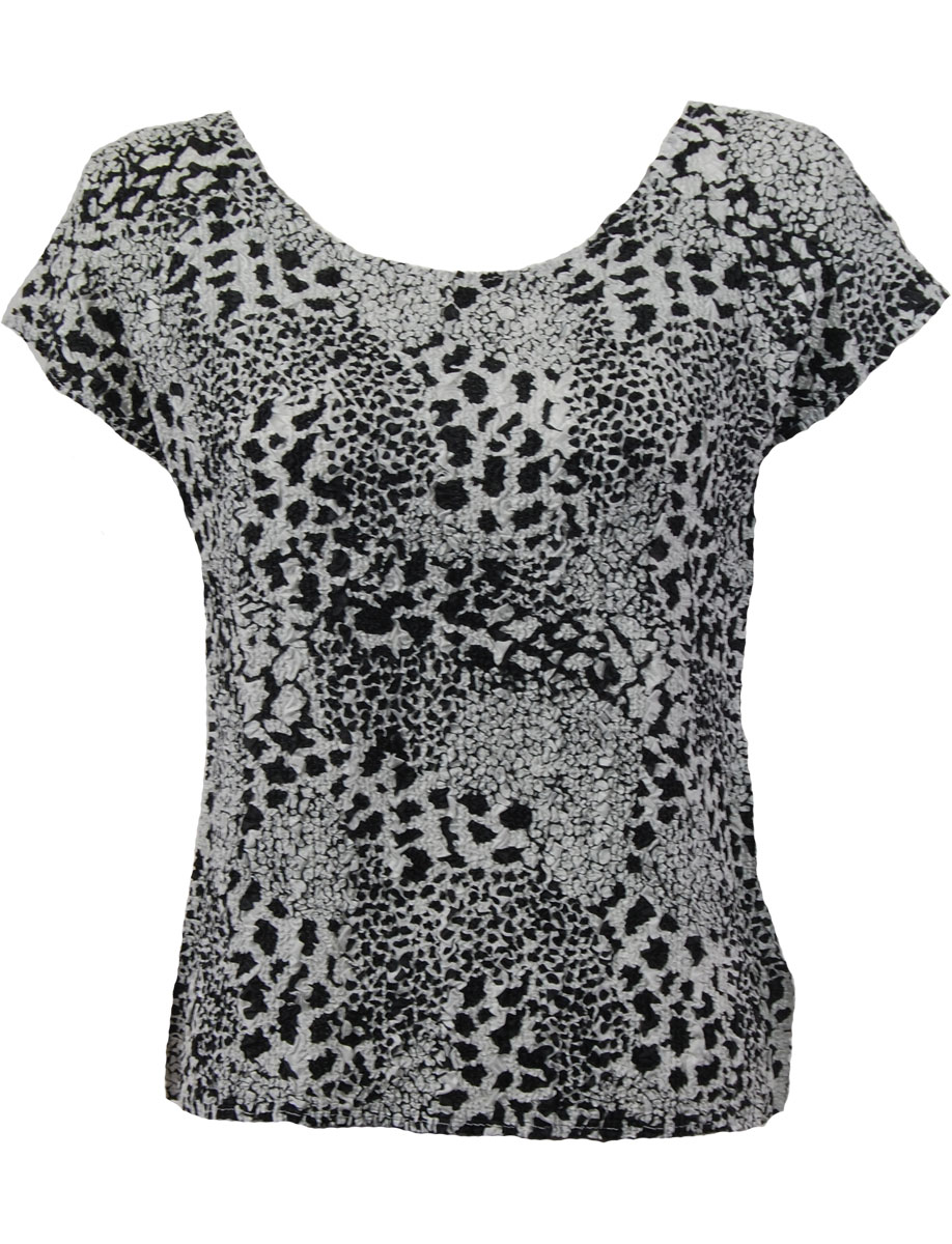 Wholesale Ultra Light Crush Silky Touch - Blouse* Reptile Black-White - One Size (S-L)