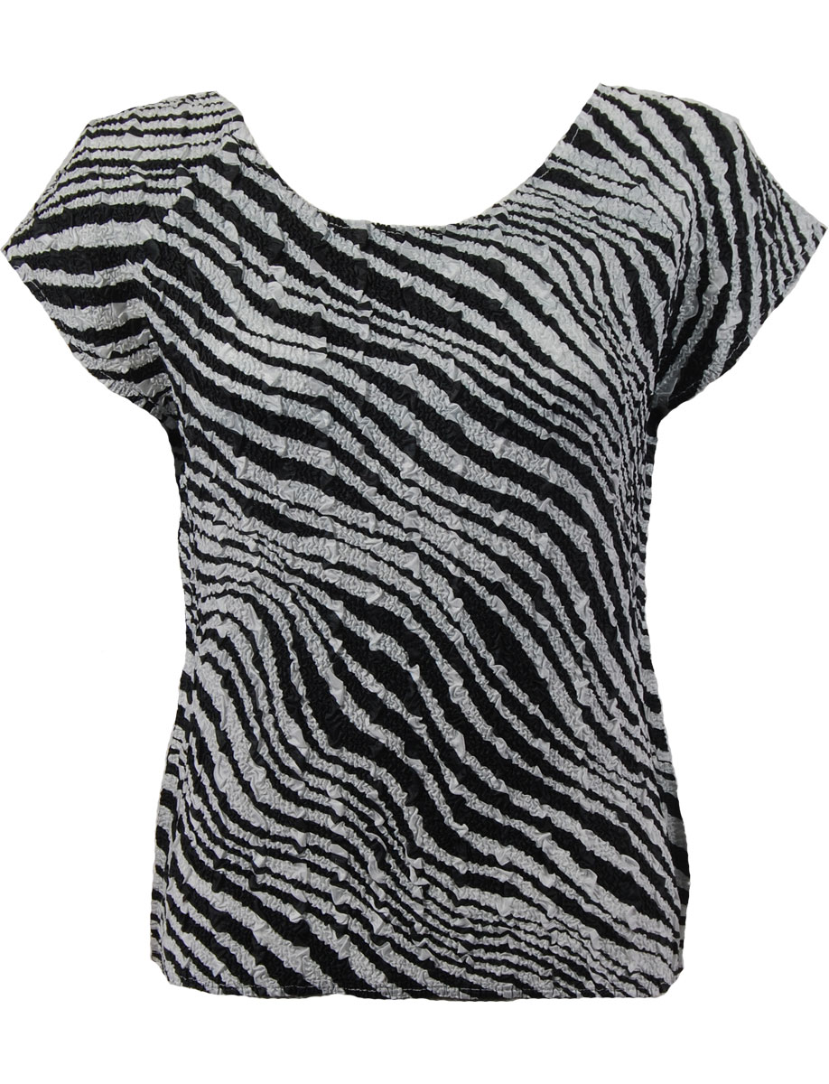 Wholesale Ultra Light Crush Silky Touch - Cap Sleeve* Zebra - Plus Size Fits (XL-2X)