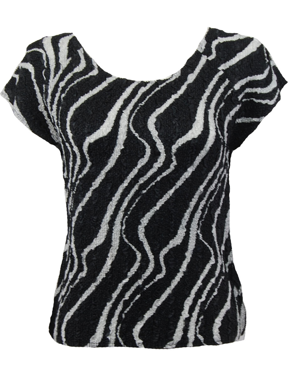 Wholesale Ultra Light Crush Silky Touch - Cap Sleeve* Ribbon Black-White - Plus Size Fits (XL-2X)