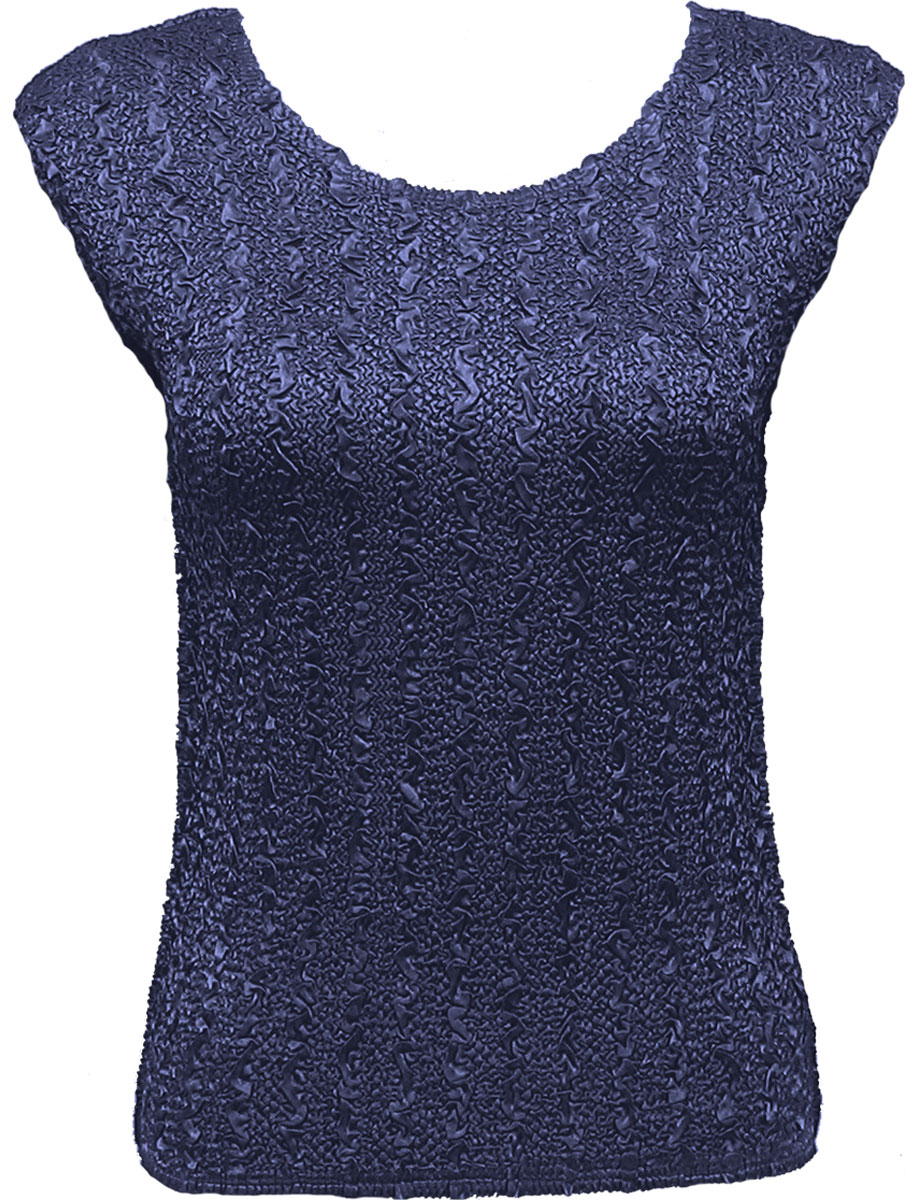 Wholesale Ultra Light Crush Silky Touch - Cap Sleeve* Solid Navy - Plus Size Fits (XL-2X)