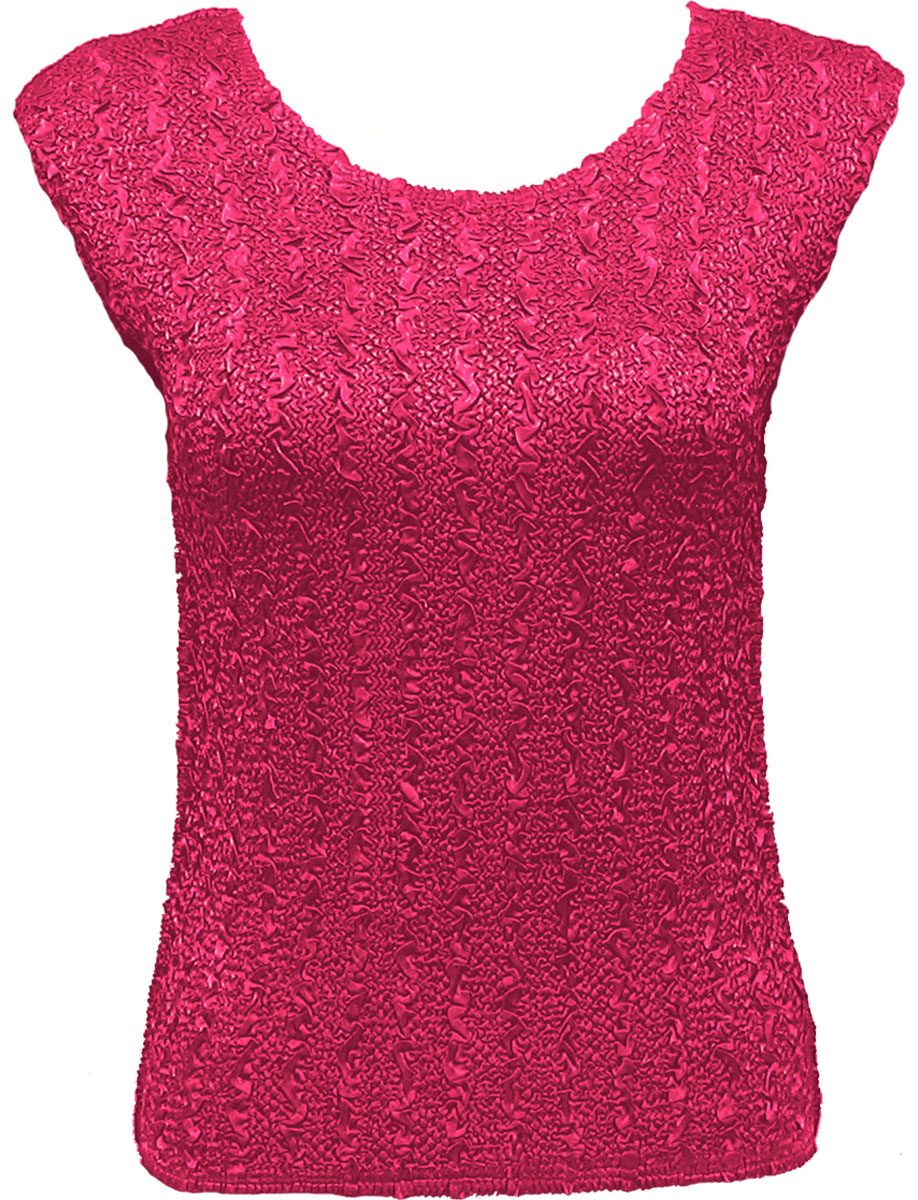 Wholesale Ultra Light Crush Silky Touch - Cap Sleeve* Solid Hot Pink - Plus Size Fits (XL-2X)