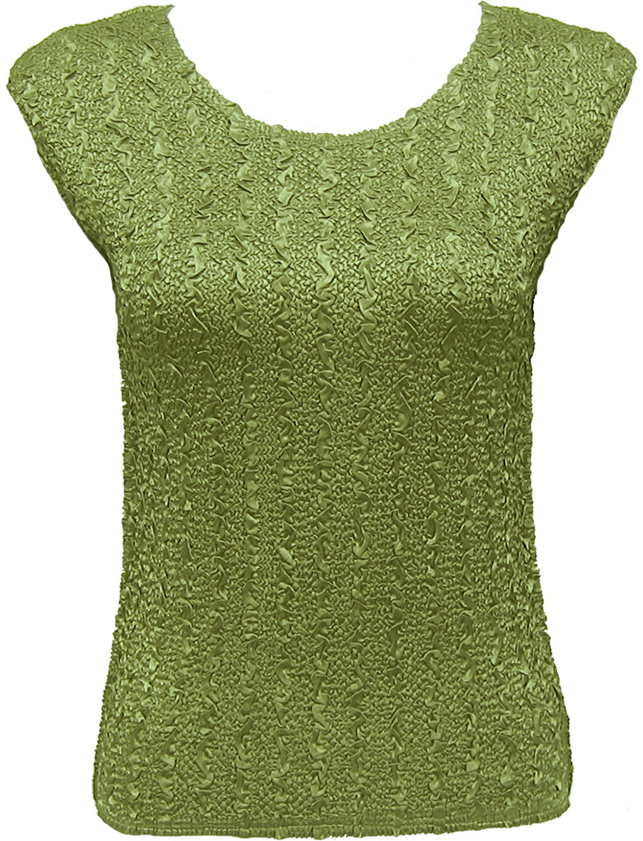 Wholesale Ultra Light Crush Silky Touch - Cap Sleeve* Solid Leaf - Plus Size Fits (XL-2X)