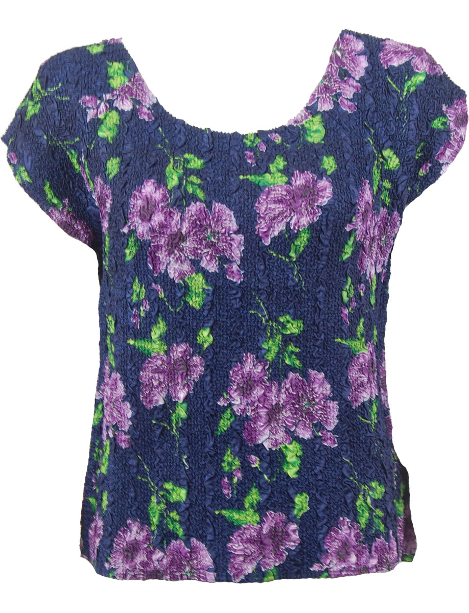Wholesale Ultra Light Crush Silky Touch - Cap Sleeve* Navy with Purple Flowers - One Size (S-L)