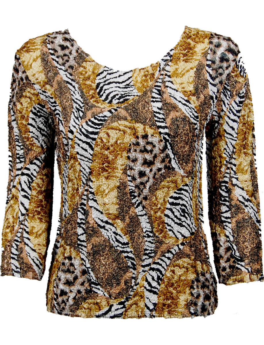 Wholesale Ultra Light Crush Silky Touch - 3/4 Sleeve* Safari Gold - Plus Size Fits (M-1X)