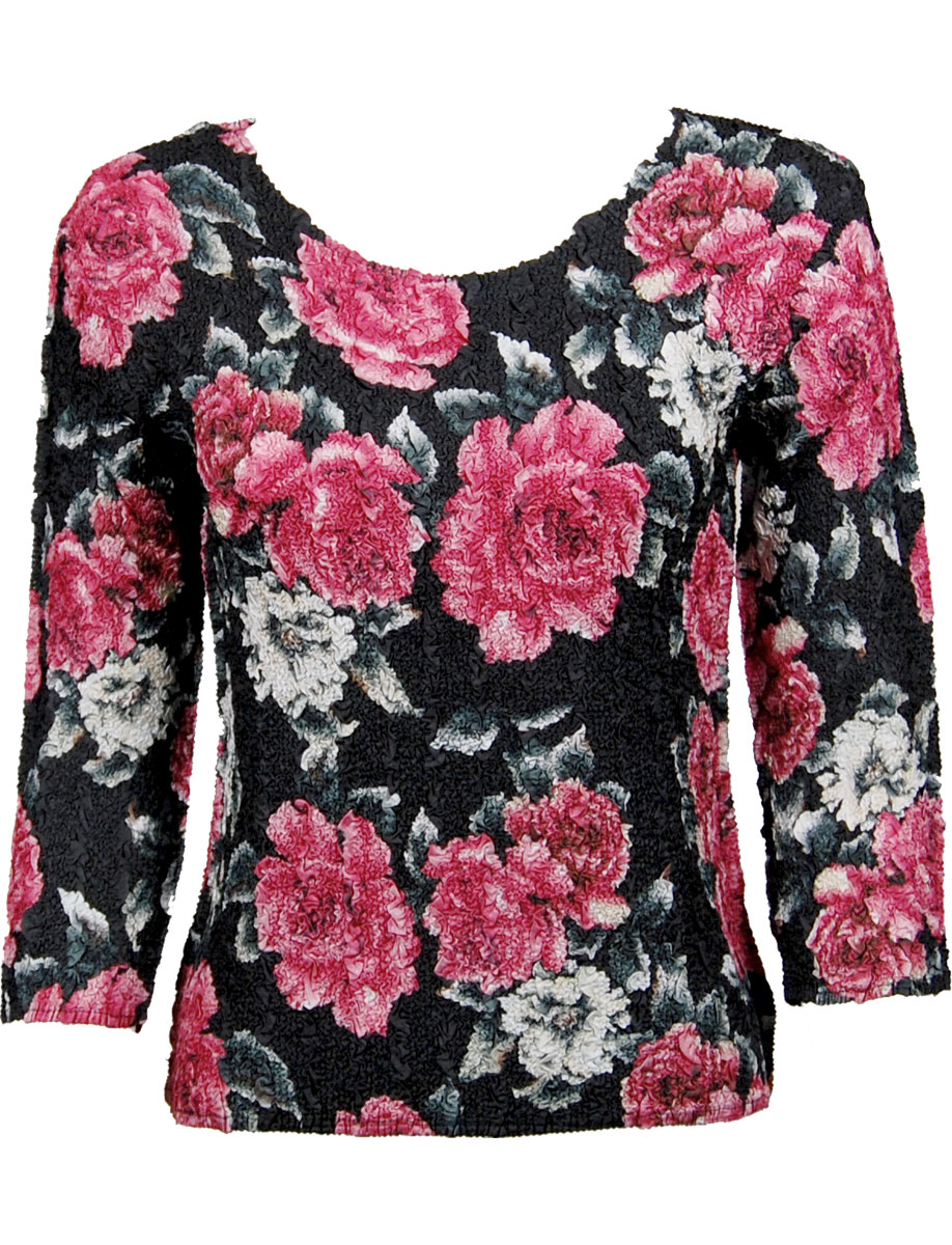 Wholesale Ultra Light Crush Silky Touch - 3/4 Sleeve* Pink Floral  - One Size (S-L)