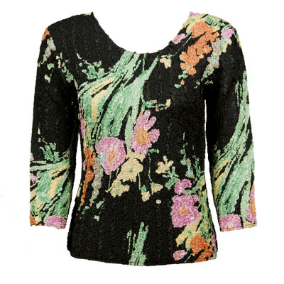 Wholesale Ultra Light Crush Silky Touch - 3/4 Sleeve* Floral Fantasy - One Size (S-L)