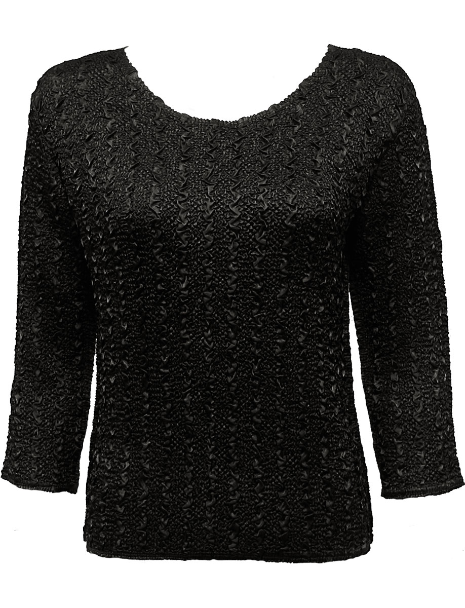 Wholesale Ultra Light Crush Silky Touch - 3/4 Sleeve* Solid Black - One Size (S-L)