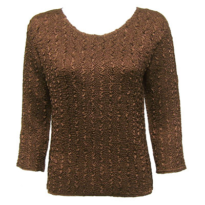 Wholesale Ultra Light Crush Silky Touch - 3/4 Sleeve* Solid Brown - One Size (S-L)