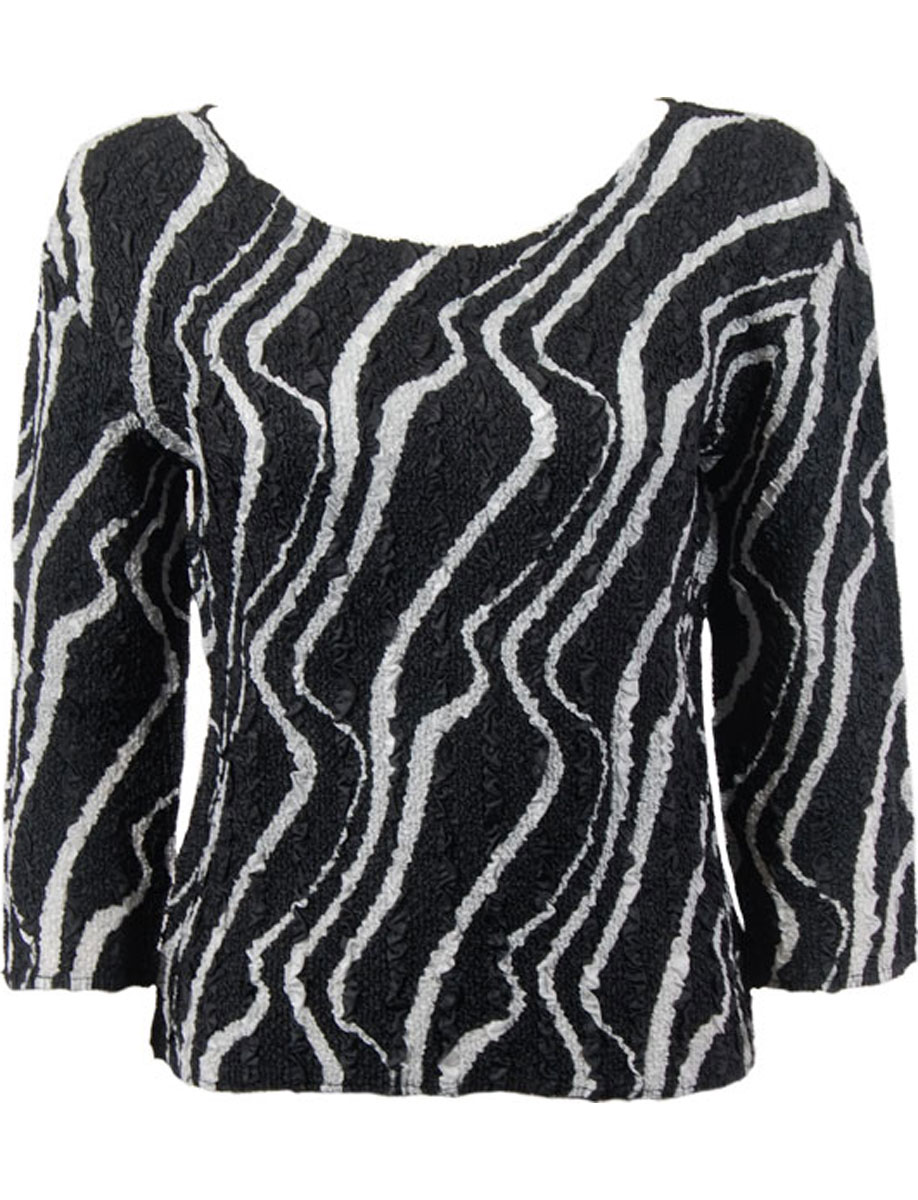 Wholesale Ultra Light Crush Silky Touch - 3/4 Sleeve* Ribbon Black-White  - Plus Size Fits (XL-2X)