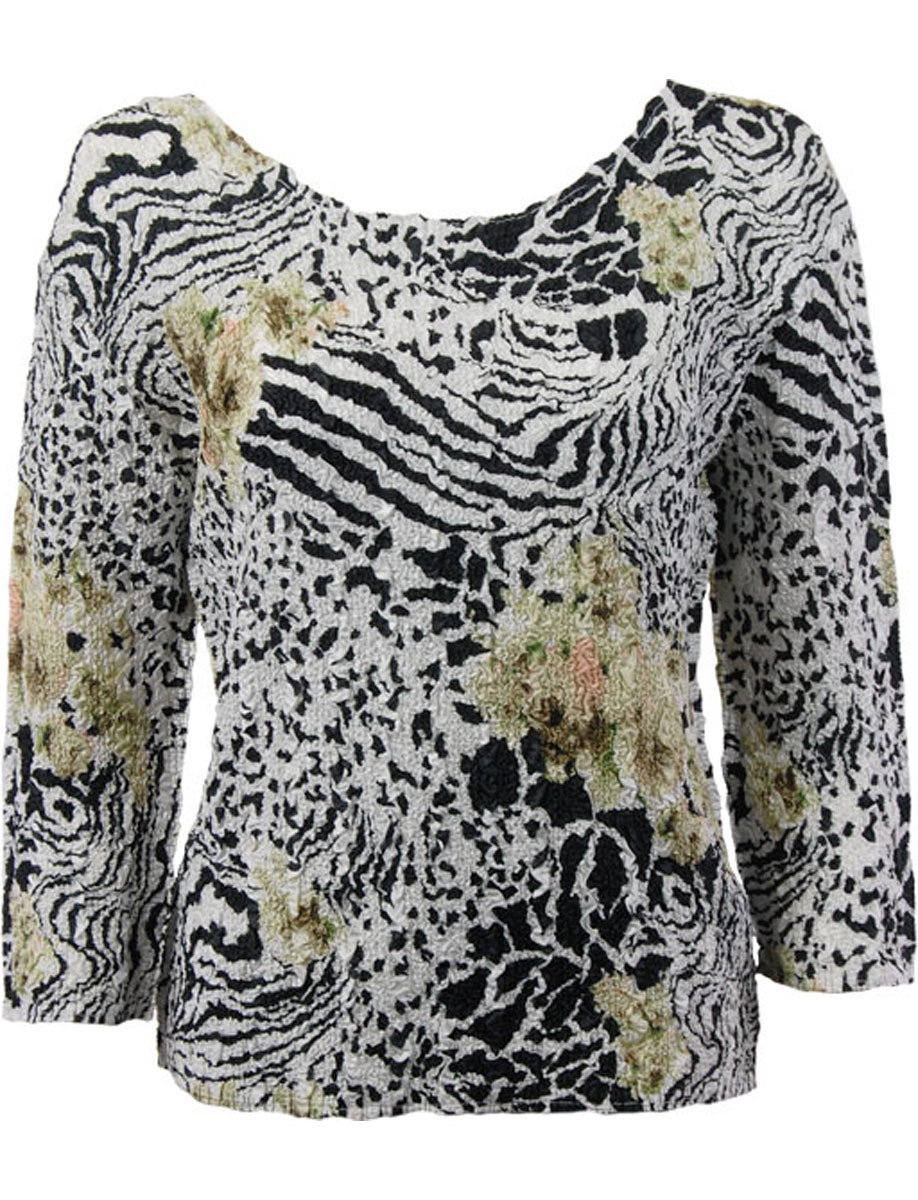 Wholesale Ultra Light Crush Silky Touch - 3/4 Sleeve* Reptile Floral - Green - Plus Size Fits (XL-2X)