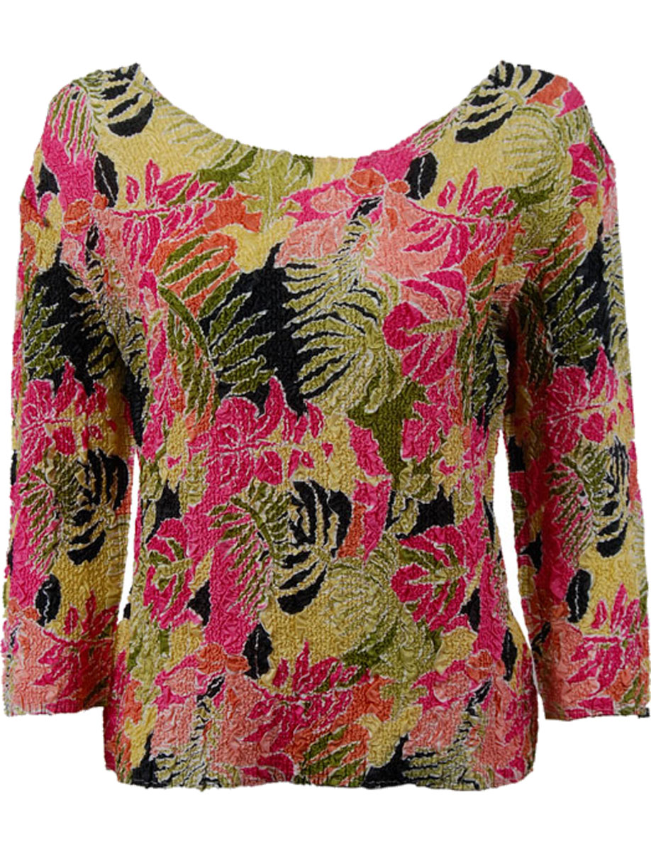 Wholesale Ultra Light Crush Silky Touch - 3/4 Sleeve* Tropical Heat - Plus Size Fits (XL-2X)