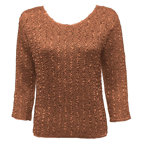 Wholesale Ultra Light Crush Silky Touch - 3/4 Sleeve* Solid Dark Taupe - Plus Size Fits (XL-2X)