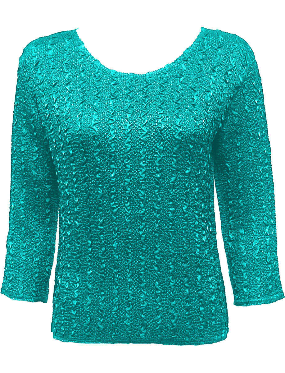 Wholesale Ultra Light Crush Silky Touch - 3/4 Sleeve* Solid Bright Teal - Plus Size Fits (XL-2X)