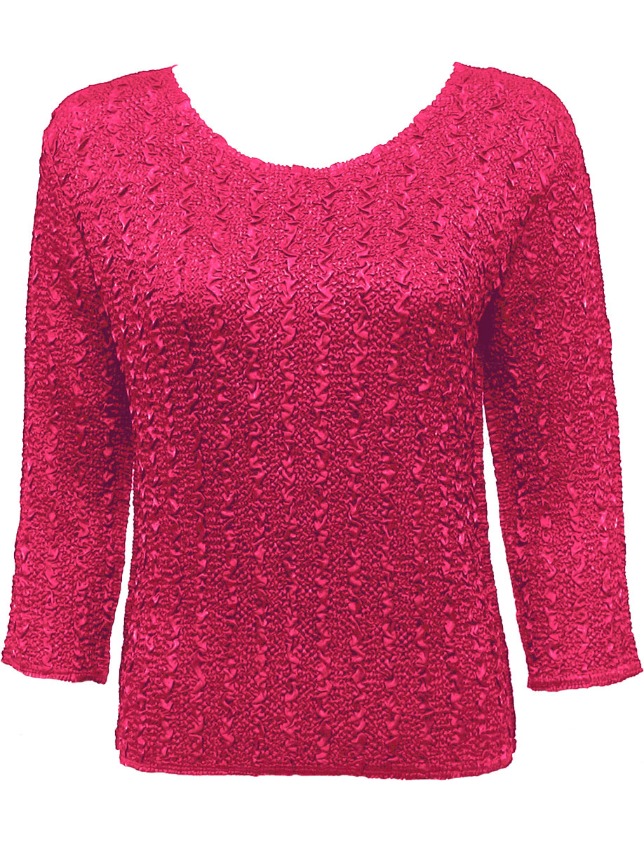 Wholesale Ultra Light Crush Silky Touch - 3/4 Sleeve* Solid Hot Pink - Plus Size Fits (XL-2X)