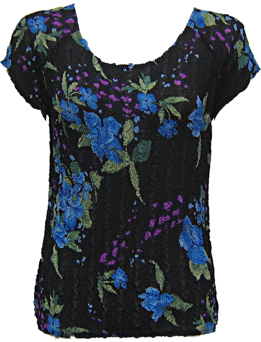 Wholesale Magic Crush Georgette - Cap Sleeve* Black-Blue Floral - One Size (S-L)