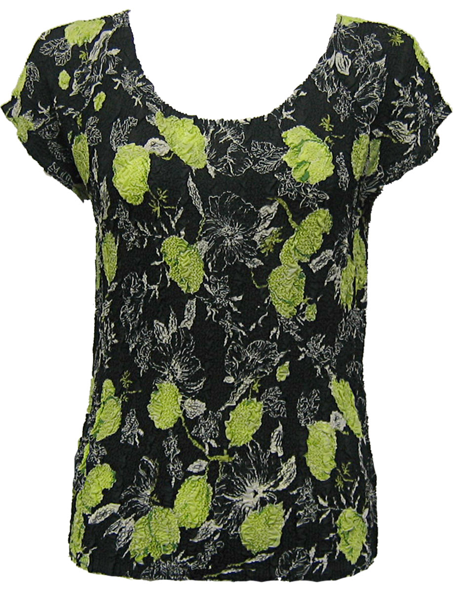 Wholesale Magic Crush Georgette - Cap Sleeve* Black-Kiwi Floral - One Size (S-L)