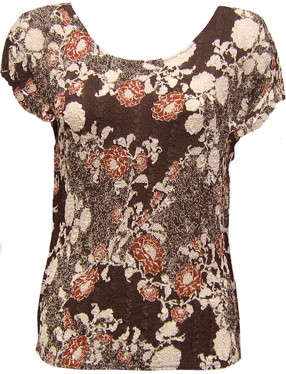 Wholesale Magic Crush Georgette - Cap Sleeve* Chocolate-Ivory Floral - One Size (S-L)