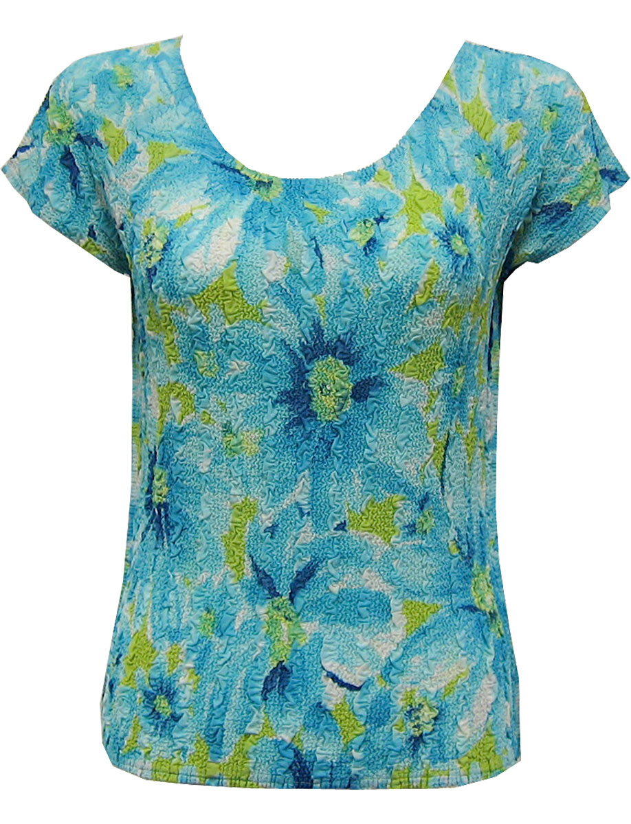 Wholesale Magic Crush Georgette - Cap Sleeve* Daisies - Aqua - One Size (S-L)