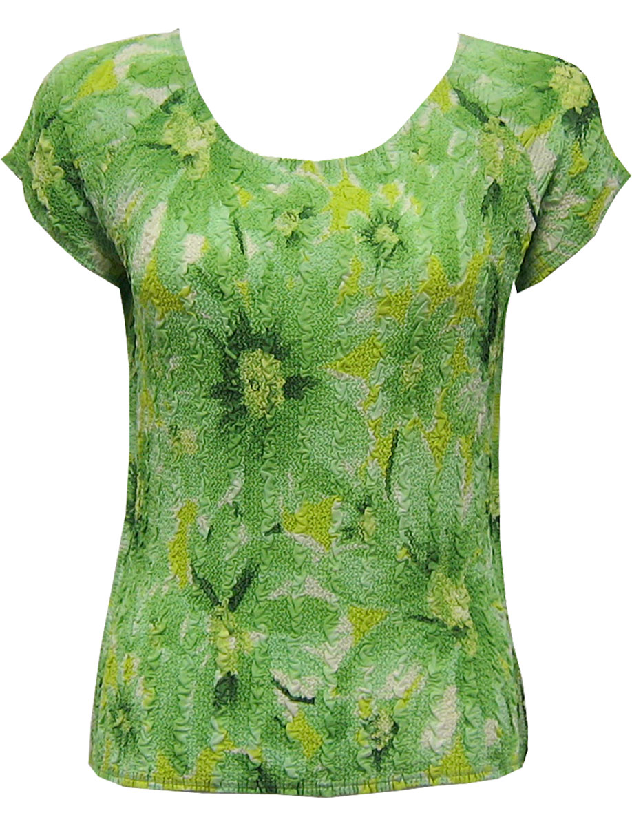 Wholesale Magic Crush Georgette - Cap Sleeve* Daisies - Green - One Size (S-L)