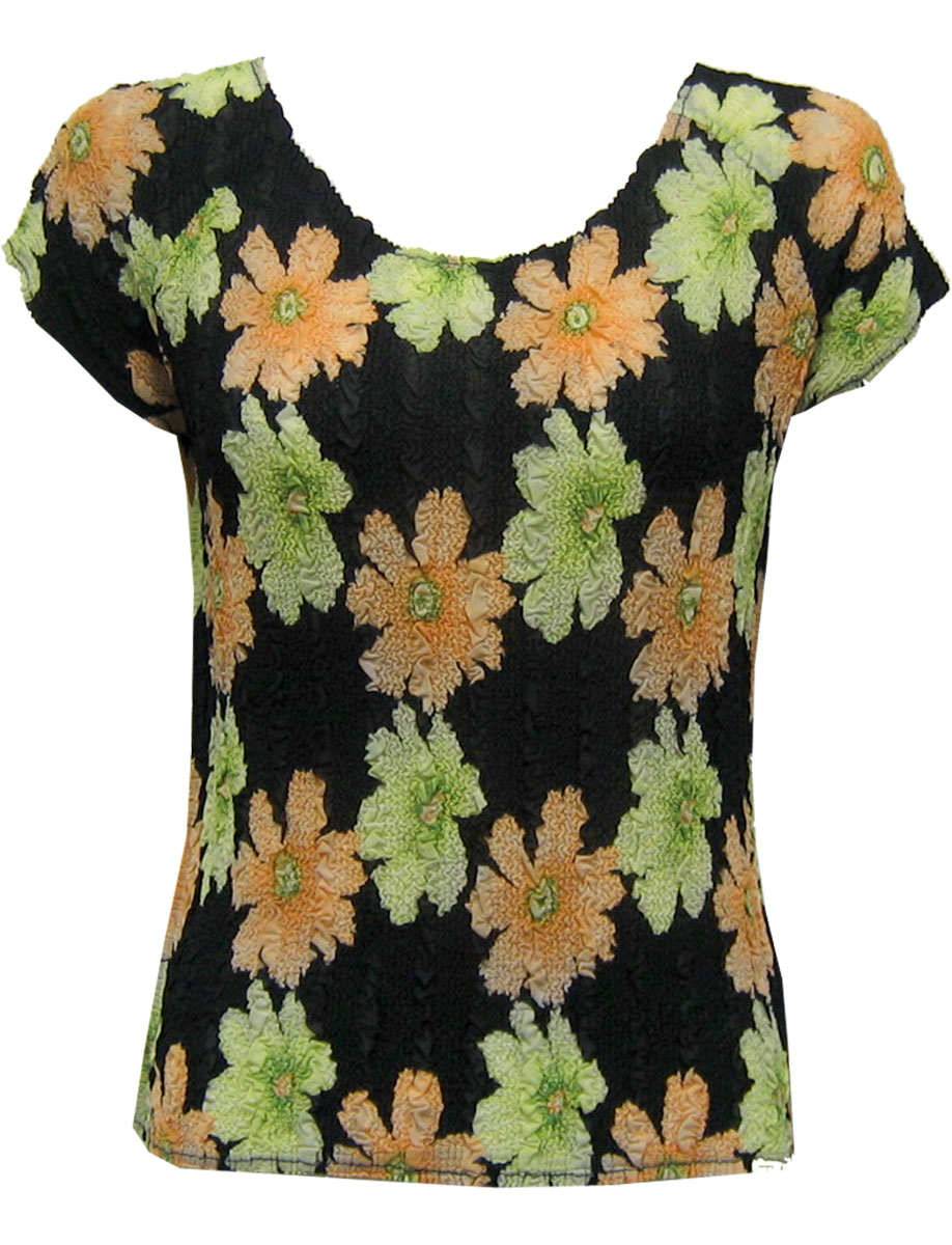 Wholesale Magic Crush Georgette - Cap Sleeve* Hibiscus Peach-Green - One Size (S-L)