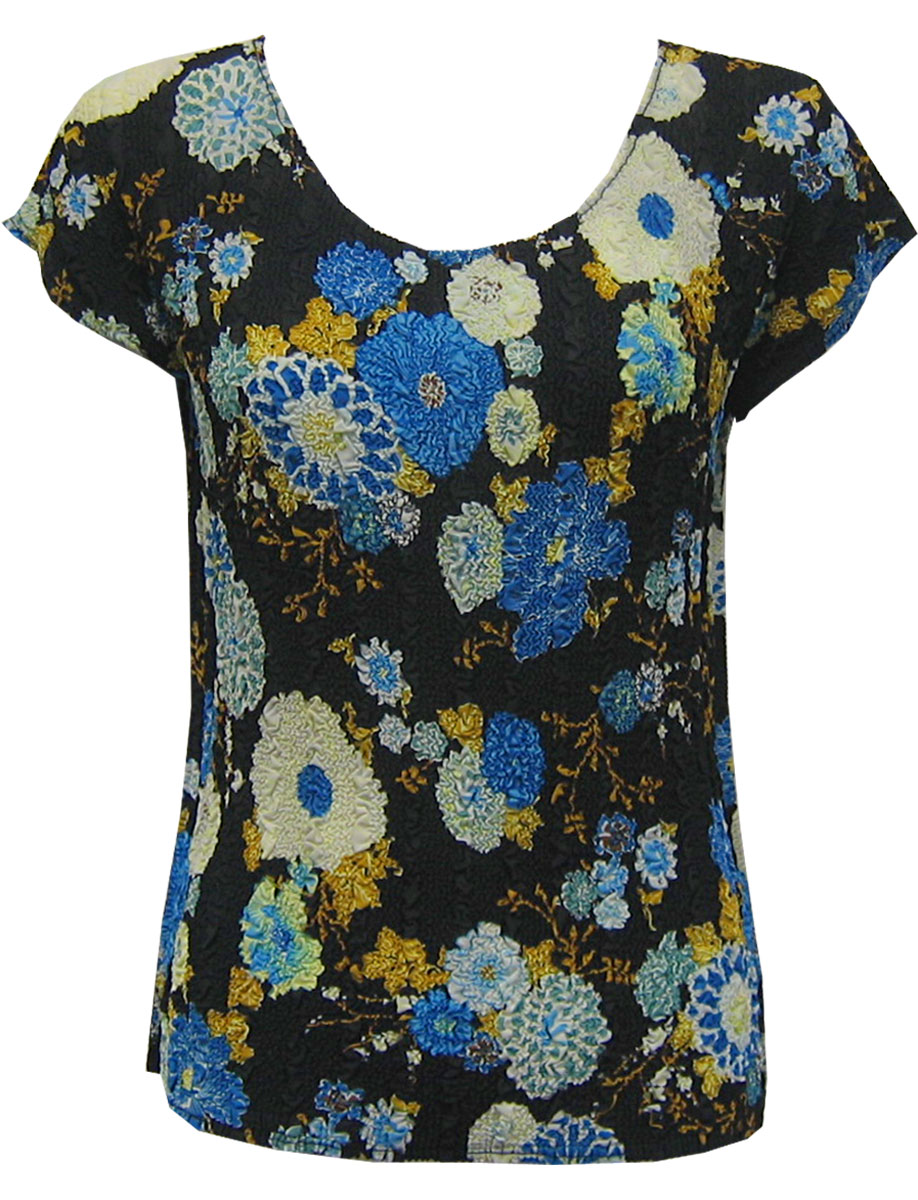 Wholesale Magic Crush Georgette - Cap Sleeve* Mums Blue-Black - One Size (S-L)