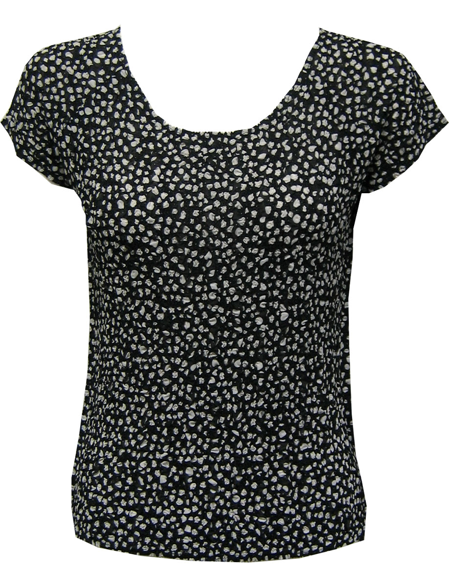 Wholesale Magic Crush Georgette - Cap Sleeve* Polka Dot Black-White - One Size (S-L)