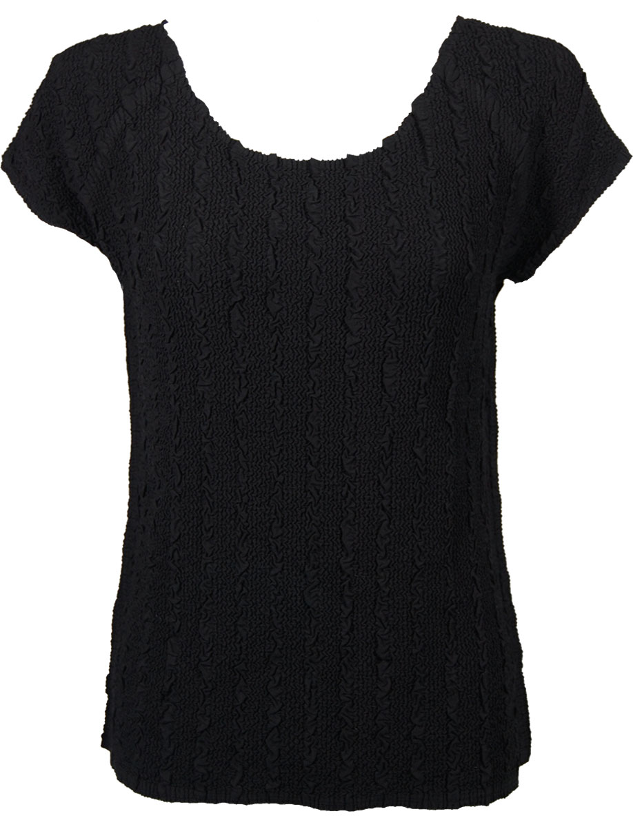 Wholesale Magic Crush Georgette - Cap Sleeve* Solid Black  - One Size (S-L)