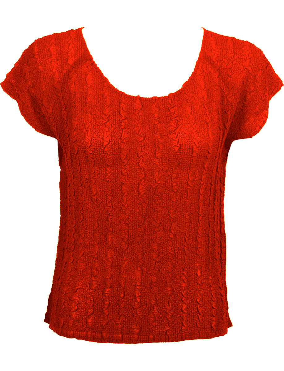 Wholesale Magic Crush Georgette - Cap Sleeve* Solid Red  - One Size (S-L)