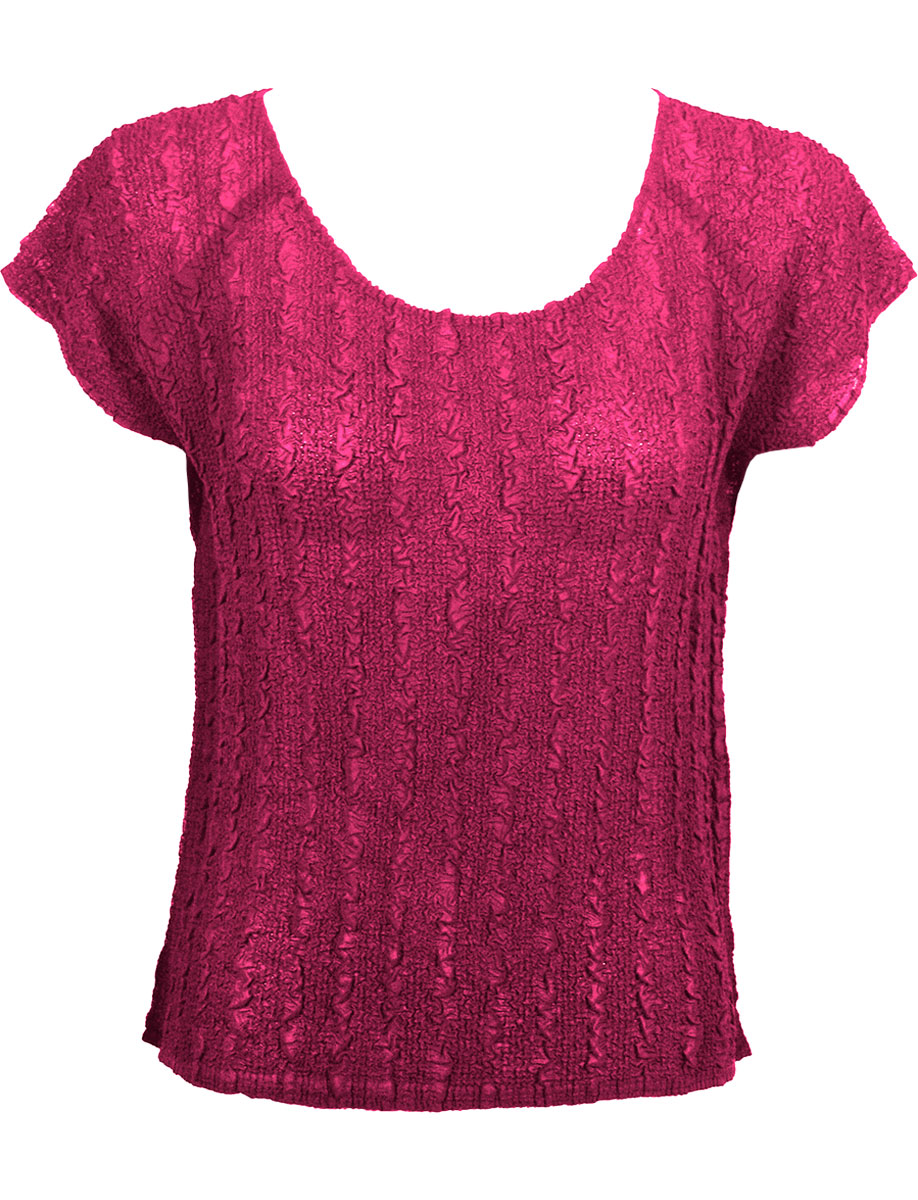 Wholesale Magic Crush Georgette - Cap Sleeve* Solid Magenta  - One Size (S-L)
