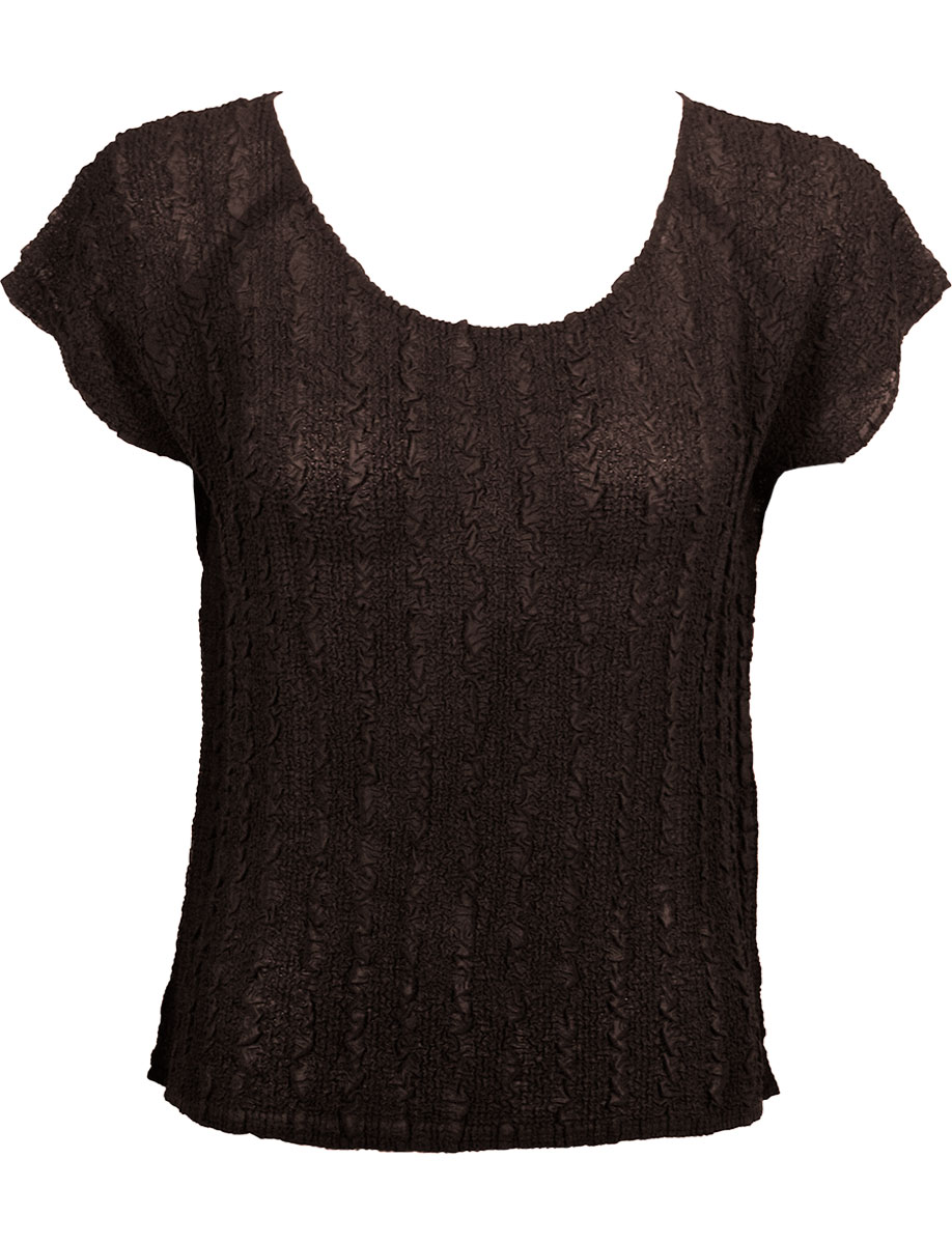 Wholesale Magic Crush Georgette - Cap Sleeve* Solid Dark Brown - One Size (S-L)