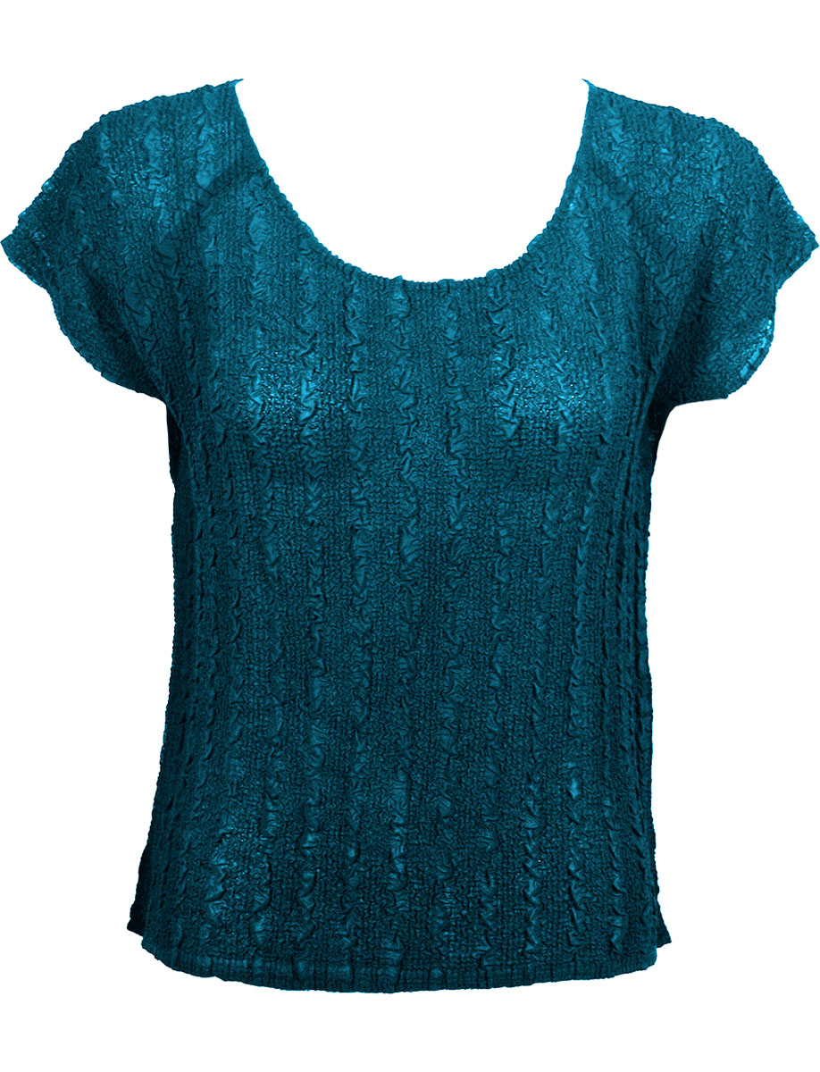 Wholesale Magic Crush Georgette - Cap Sleeve* Solid Teal - One Size (S-L)
