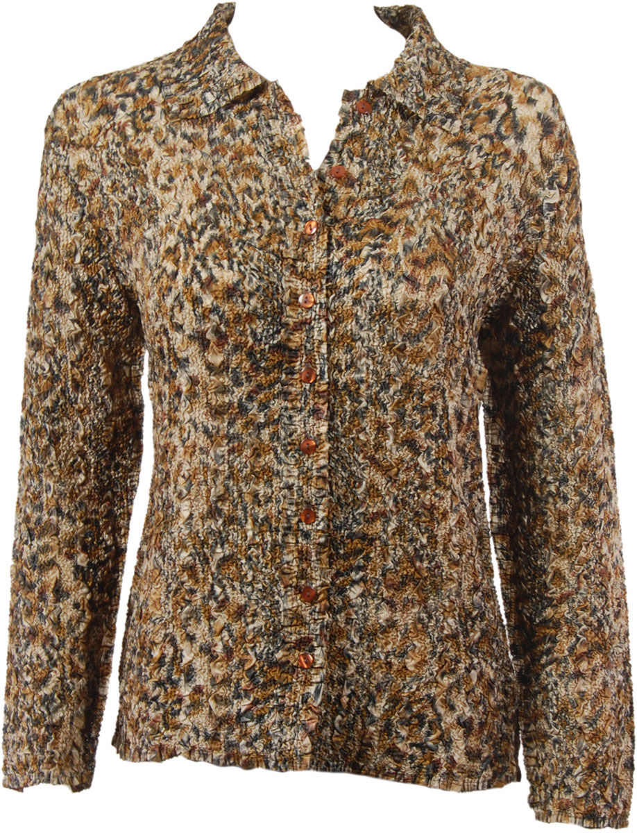 Wholesale Ultra Light Crush Silky Touch - Blouse*  Leopard - One Size (S-L)