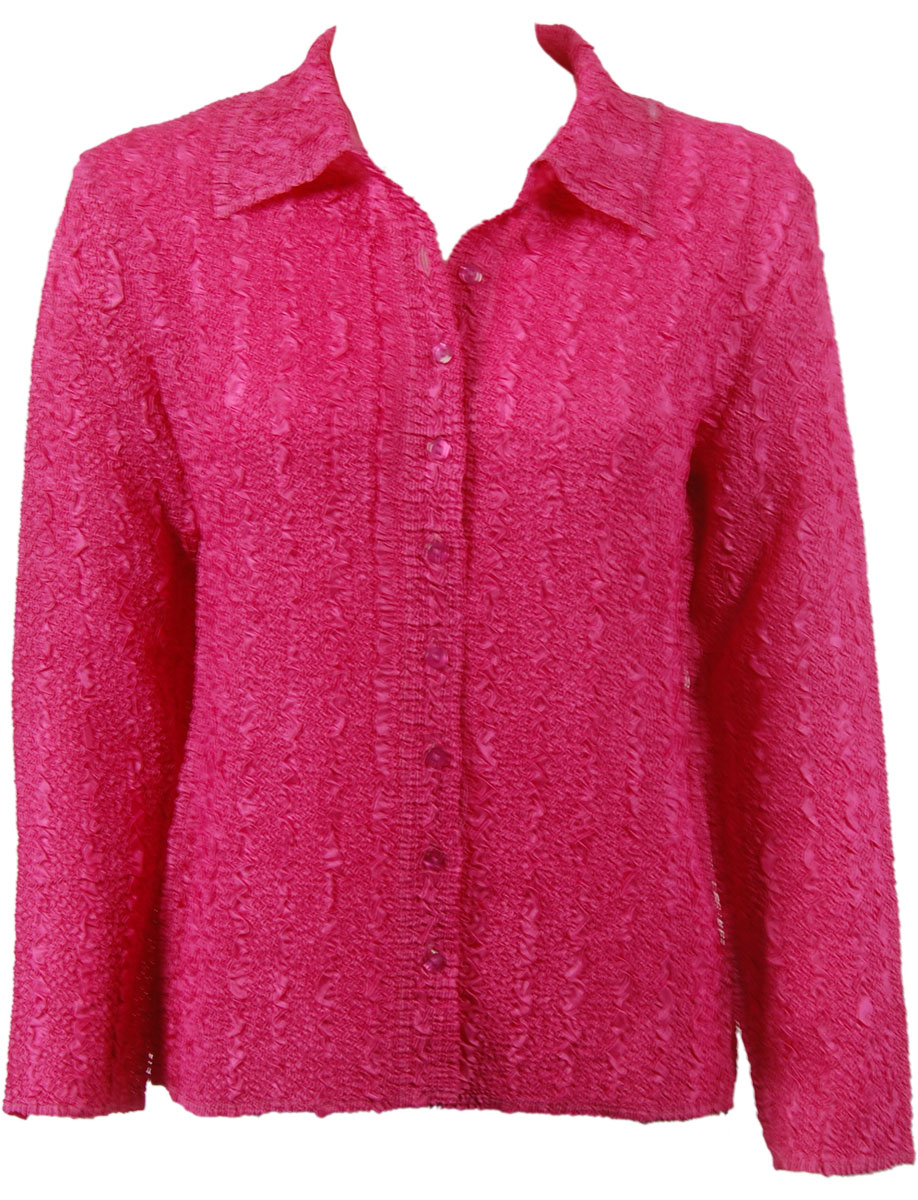 Wholesale Ultra Light Crush Silky Touch - Blouse* Solid Hot Pink - One Size (S-L)