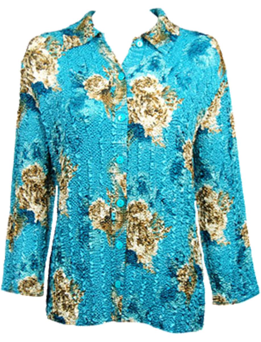 Wholesale Magic Crush Satin - Blouse* Taupe on Teal - One Size (S-L)