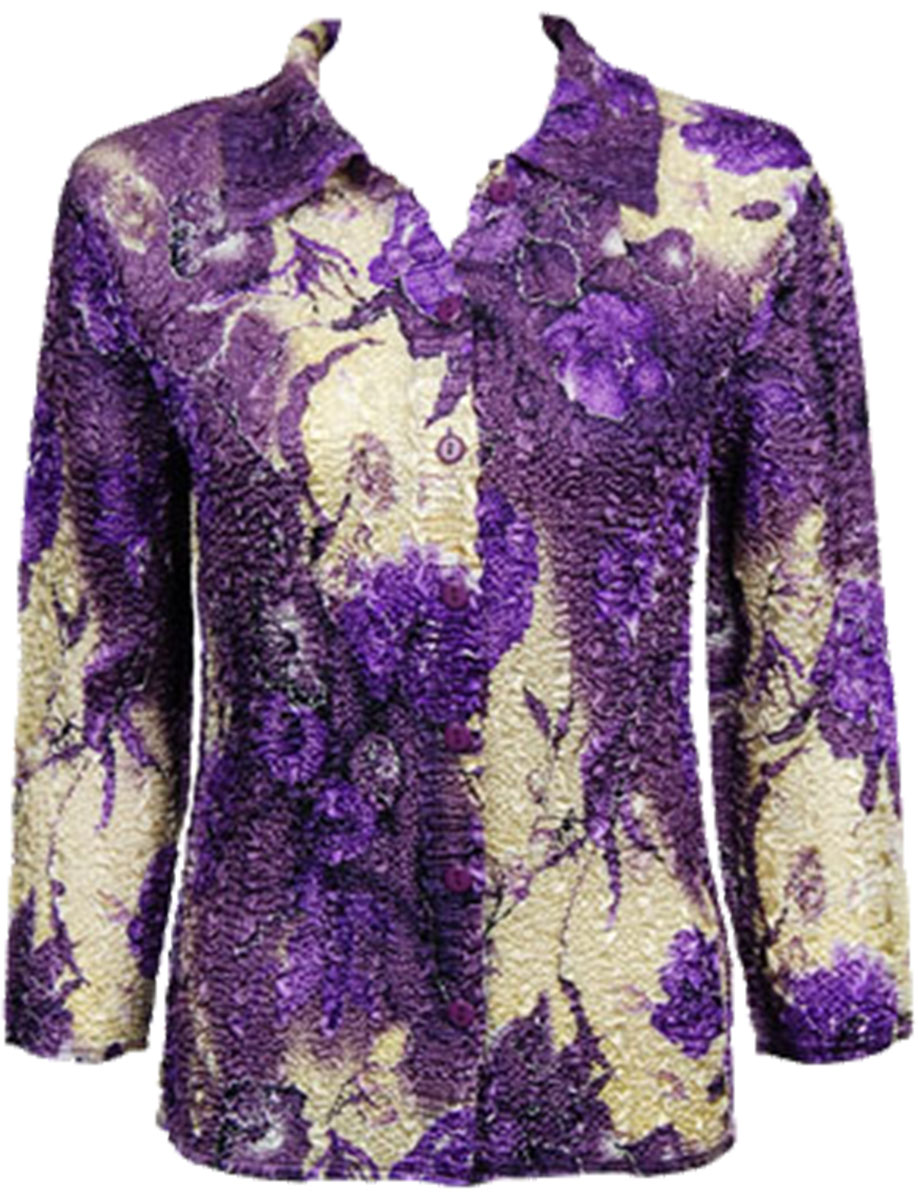 Wholesale Magic Crush Satin - Blouse* Rose Floral - Purple - One Size (S-L)