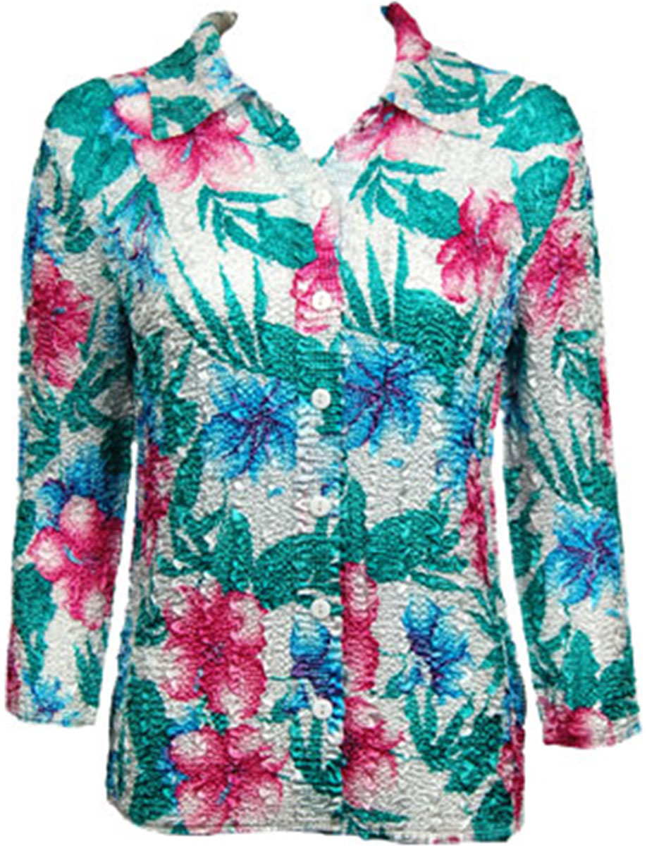 Wholesale Magic Crush Satin - Blouse* Bright Bouquet - Plus Size Fits (M-1X)