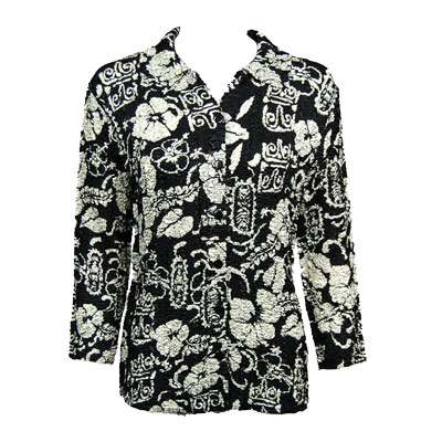 Wholesale Magic Crush Satin - Blouse*  Ivory Floral on Black - Plus Size Fits (M-1X)
