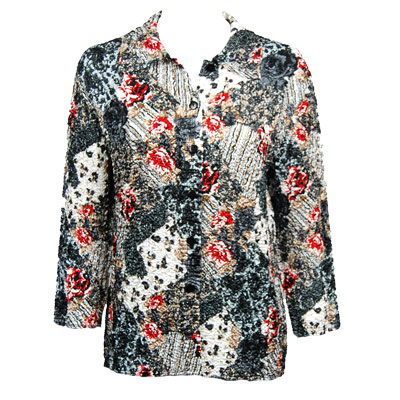 Wholesale Magic Crush Satin - Blouse*  White-Black-Red Abstract - Plus Size Fits (M-1X)